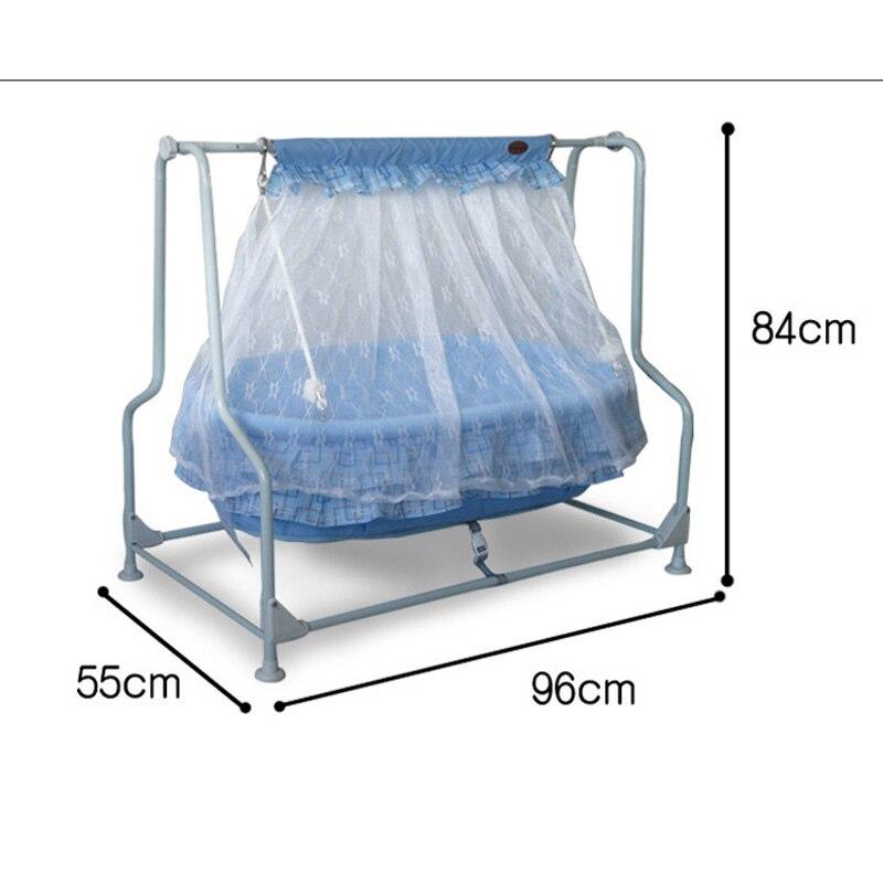 Balançoire bébé berceau acier cadre 100% coton bébé tapis couffin bébé Rocker avec moustiquaire bébé tapis - 4