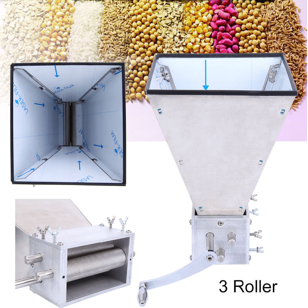 Stainless Steel 3-Roller Grain Mill Barley Malt Grinder Crusher Grain Mill Home Hopper Beer Brewing