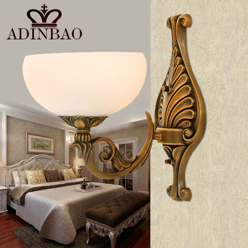 Retro Bronze Wall Sconce Switch Glass Wall Mount Lamp Hotel Lobby ...
