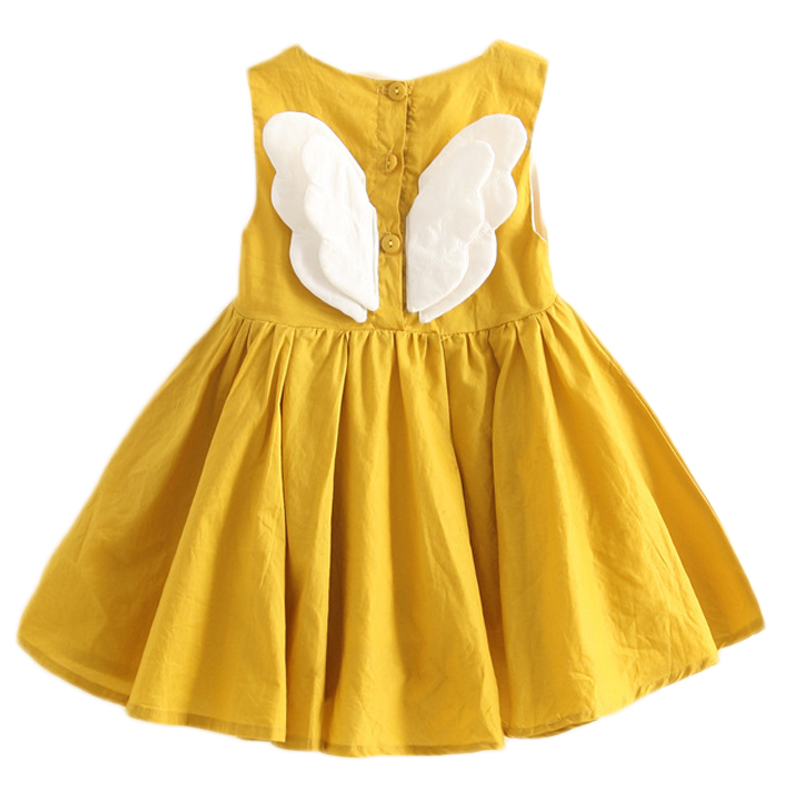 Solid Color Baby Kids Summer New Cotton Dress Children's Clothing Small Girls Wings Vest Dress Sleeveless Causal Wear Dress
