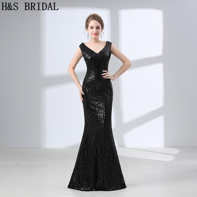 H & S mariée Sexy pas cher Sequin longue sirène soirée robe de bal longue fête 2018 tenue de femme formelle robes de soirée robes vestido