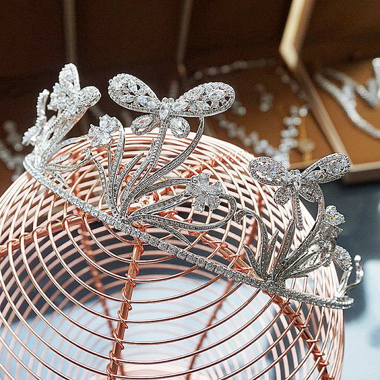 Butterfly Paved CZ Crown Cubic Zircon Tiara Tiaras Wedding Hair Accessories Bride Hair Jewelry Bijoux Cheveux Coroa WIGO1088 03 red gold bride wedding hair tiaras ancient chinese empress hat bride hair piece