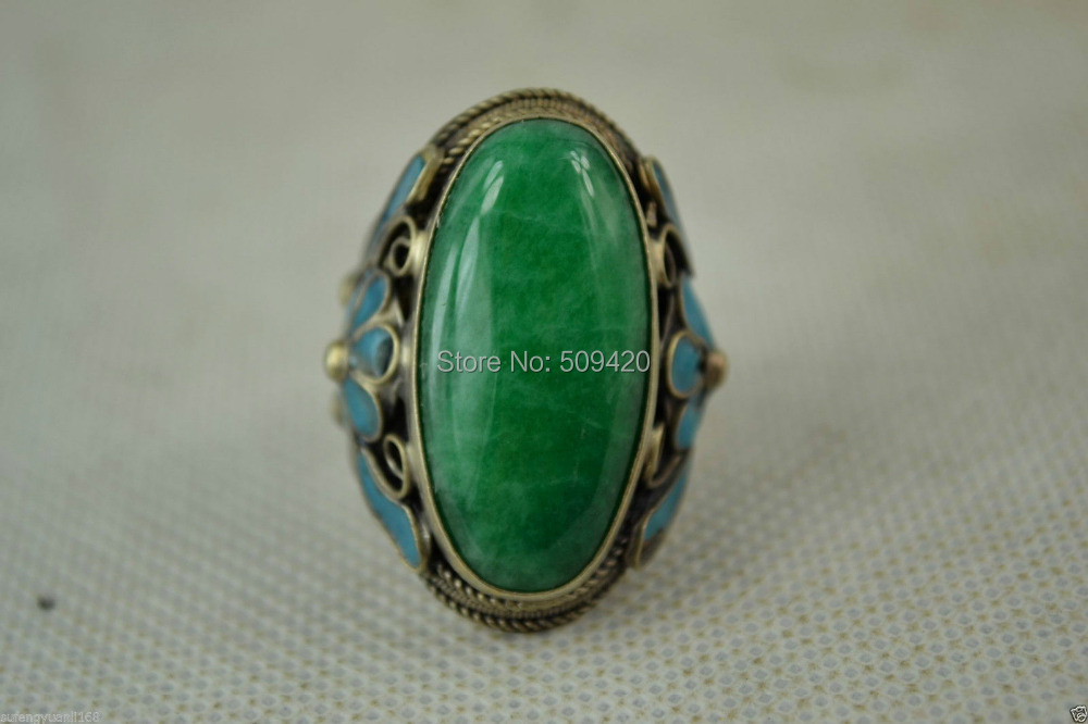XFS20141er>>>>>China Old Miao Silver Cloisonne Carve Flower Inlay Green stone Noble Adjust Ring