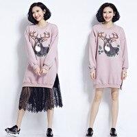 2017 New Ladies Long Sleeve Deer Printed Sweatshirt Dresses Winter Spring Warm Thicken Hoodie Dress Women