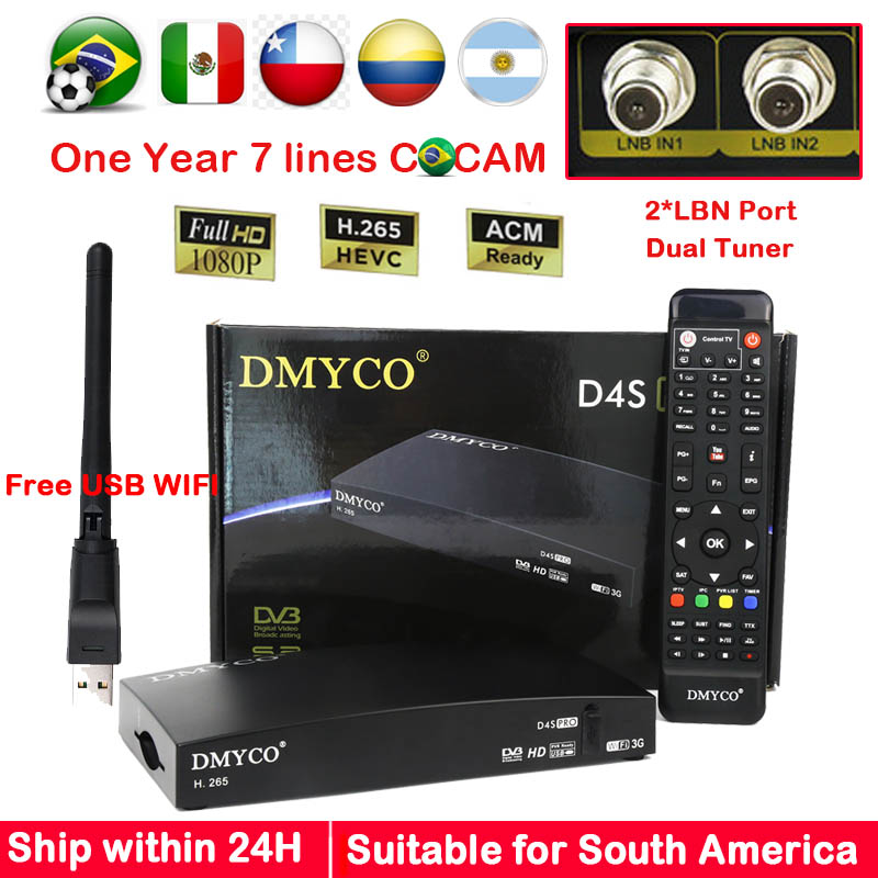 D4SPRO for Brazil South America Digital Satellite Receiver HD 1080P Twin Tuner DVB S2 Receptor Wifi Cline Biss Youtube IKS SKS цена