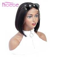 Phoebe 13x4 krótka, koronkowa peruka z ludzkimi włosami 150% gęstość brazylijska prosta Bob koronkowa peruka z przodu dla czarnych kobiet nie Remy