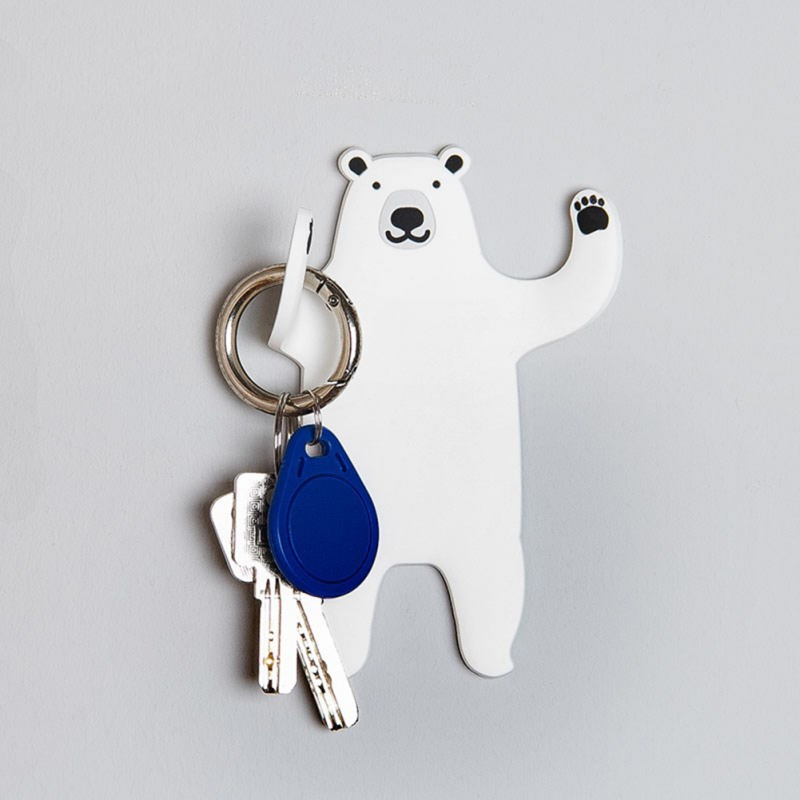 Creative Cute Animal  Shape Magnetic Wall Mount Keys Hook Fridge Magnet Hanging Hook Door Decor Foldable Magnetic Hanging Clasp