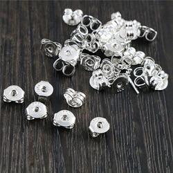 100 adet yüksek kalite 925 gümüş kaplama renk bakır küpe geri fiş küpe ayarları tabanı kulak çıtçıt geri tüm Sale-L2-42