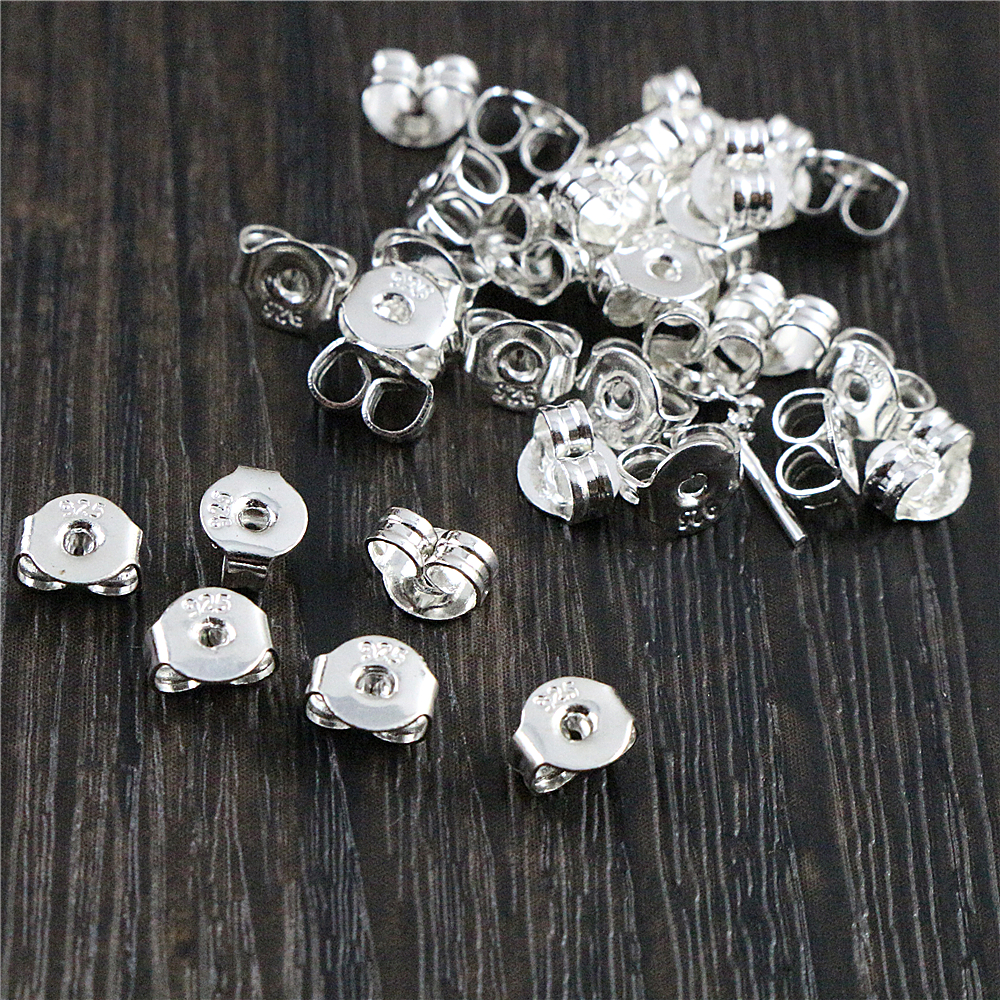 100pcs High Quality 925 Silver Plated Rose Gold Color Copper Earring Back Plug Earring Settings Base Ear Studs Back Whole Sale