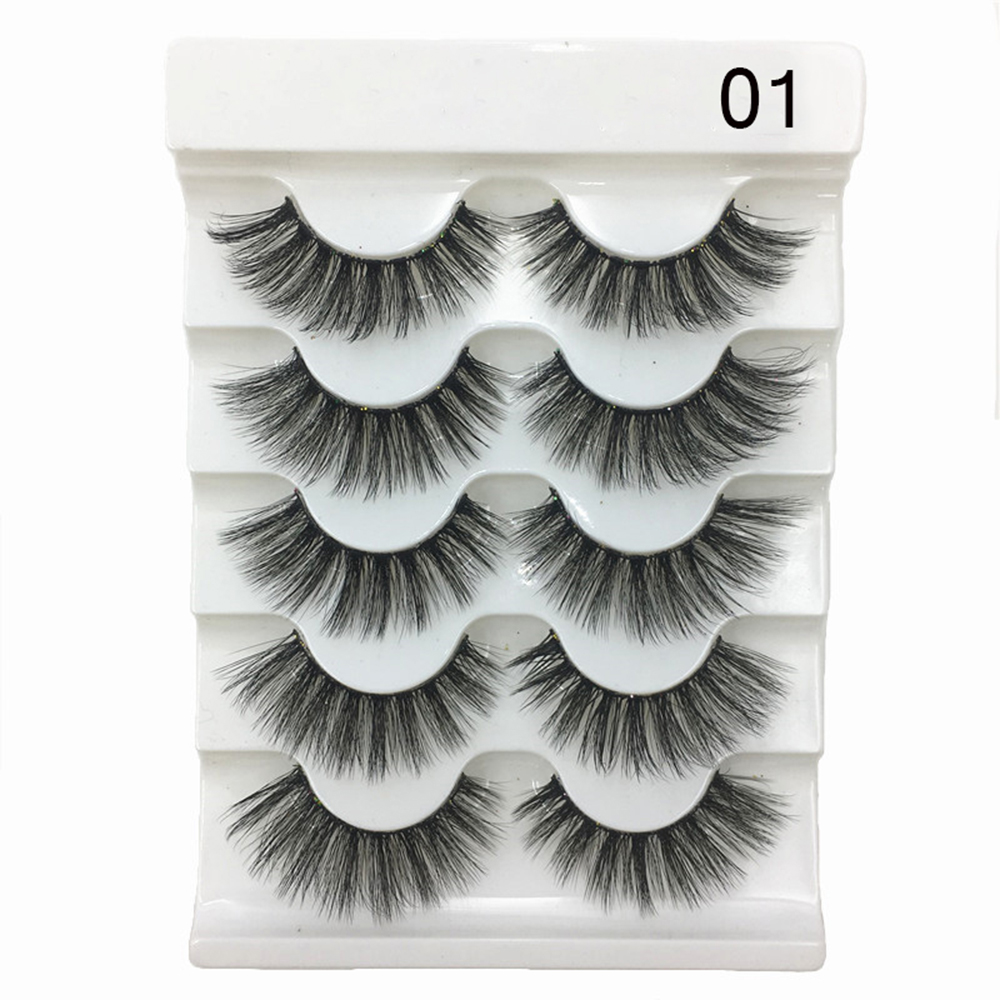 9992838bb9b 5 Pairs 2 Styles 3D Faux Mink Hair Soft False Eyelashes Fluffy Wispy Thick  Lashes Handmade Soft Eye Makeup Extension Tools ~ Free Delivery July 2019