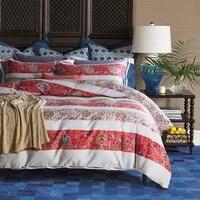 TUTUBIRD Mandal 100 Luxury Egyptian Cotton Bedding Set Bohemia Style Red Striped Bed Set Long Staple