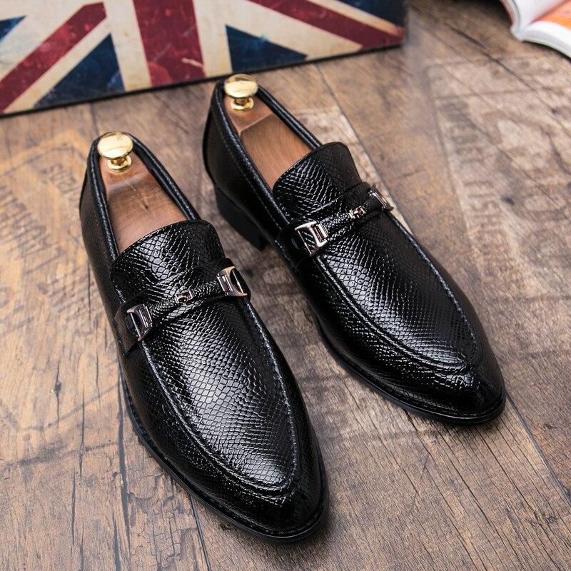 men's snake skin cool platform oxfords patent leather shoes male footwear wedding fashion famous designer brogue shoes for men (1)