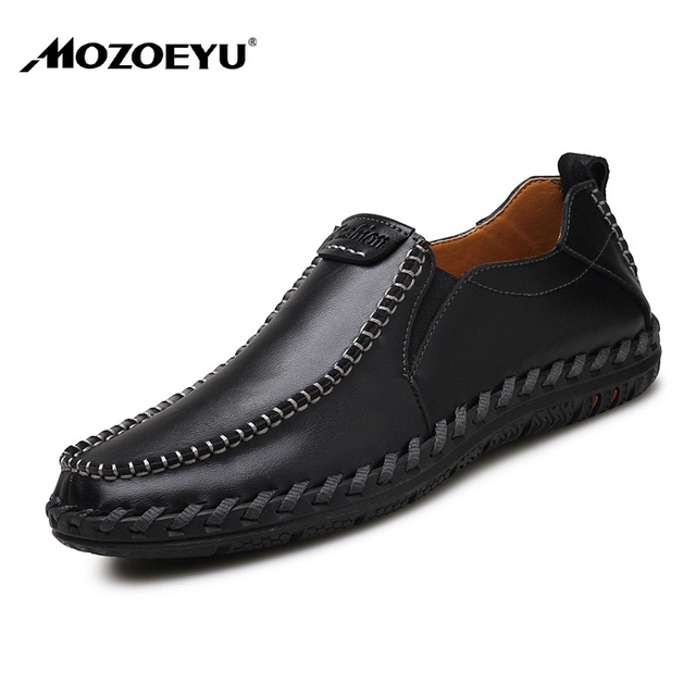 Mozoeyu High Quality Cow Split Leather Men Shoes Soft Moccasins Loafers Fashion Brand Comfortable Office