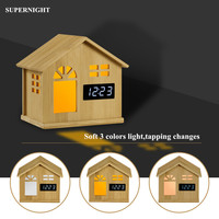 Bamboo LED Night Light with Clock Touch Sensor 3 Colors Desk Table Lamp USB Rechargeable Bedroom Bedside Lamp for Children Kids