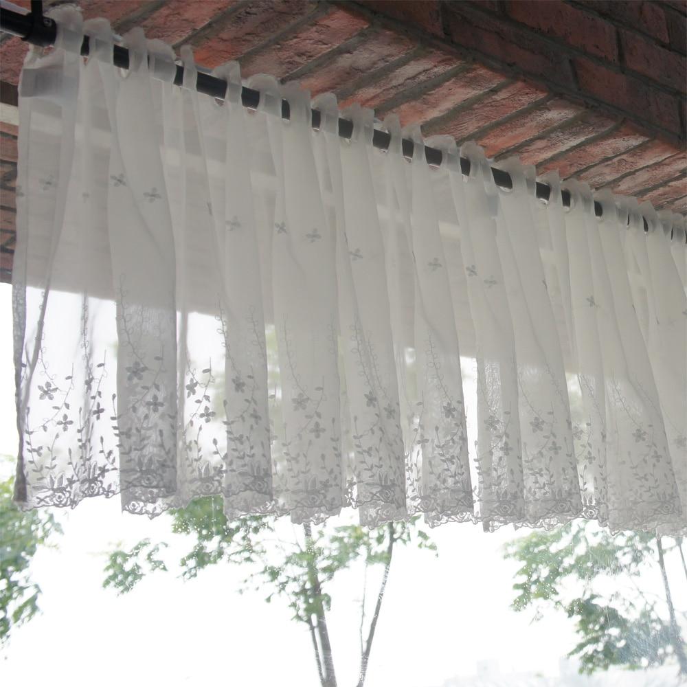 White Vines Kitchen Curtains