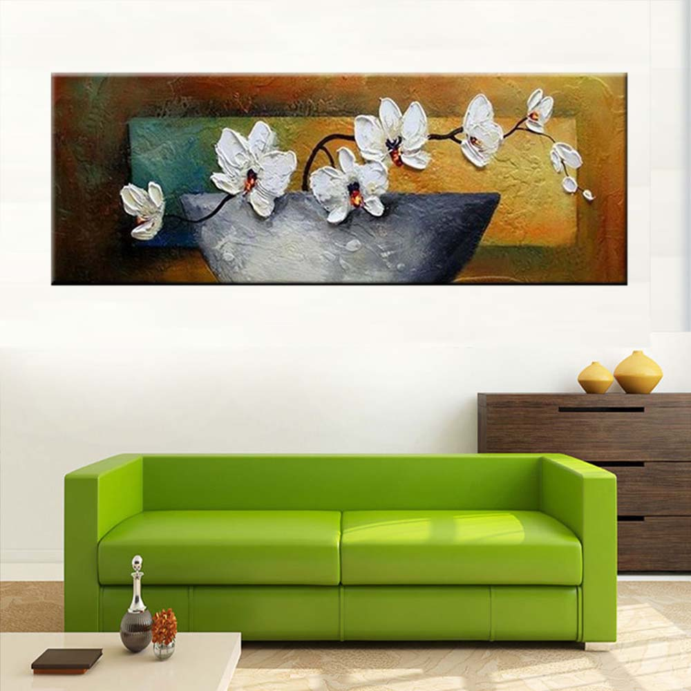 Hand Painted Abstract Thick Impasto Vase Flower Oil Painting White ...