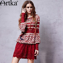 Artka Women's Vintage Patchwork Drawstring Knitted Dress Geometric Pattern Perforated O-neck Latern Sleeve Comfy Dress YB14254C