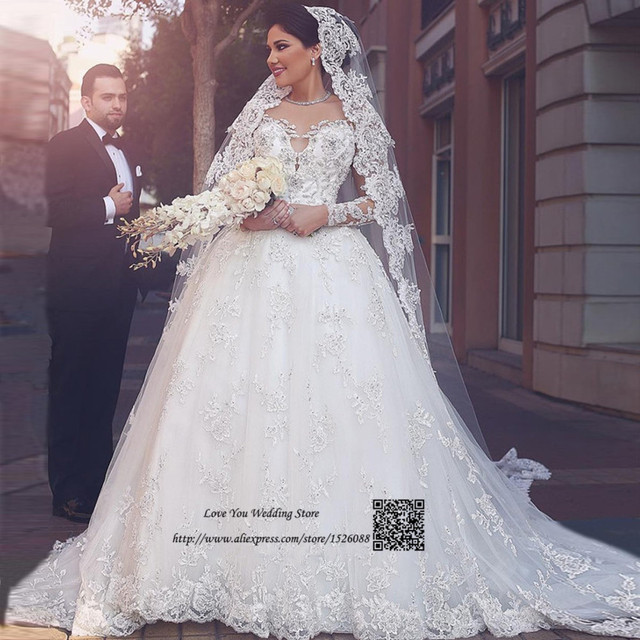 Vestido de Noiva de Renda Arab Turkey Wedding Dresses Long Sleeve Lace  Bride Dress 2017 Court Train Sexy Wedding Gowns Beaded d15fa23de449