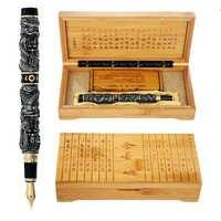 La más completa regalo de lujo JinHao dragón pluma 18KGP 0,5mm plumilla tinta plumas para la escritura Oficina suministros