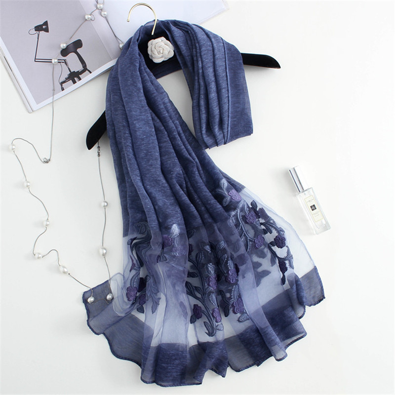 YRRETY 2020 Spring Women Silk Organza Scarf Elegant Ladies Hollowed-out Jacquard Cut Flowers Lace Large Long Scarves Shawls Wrap