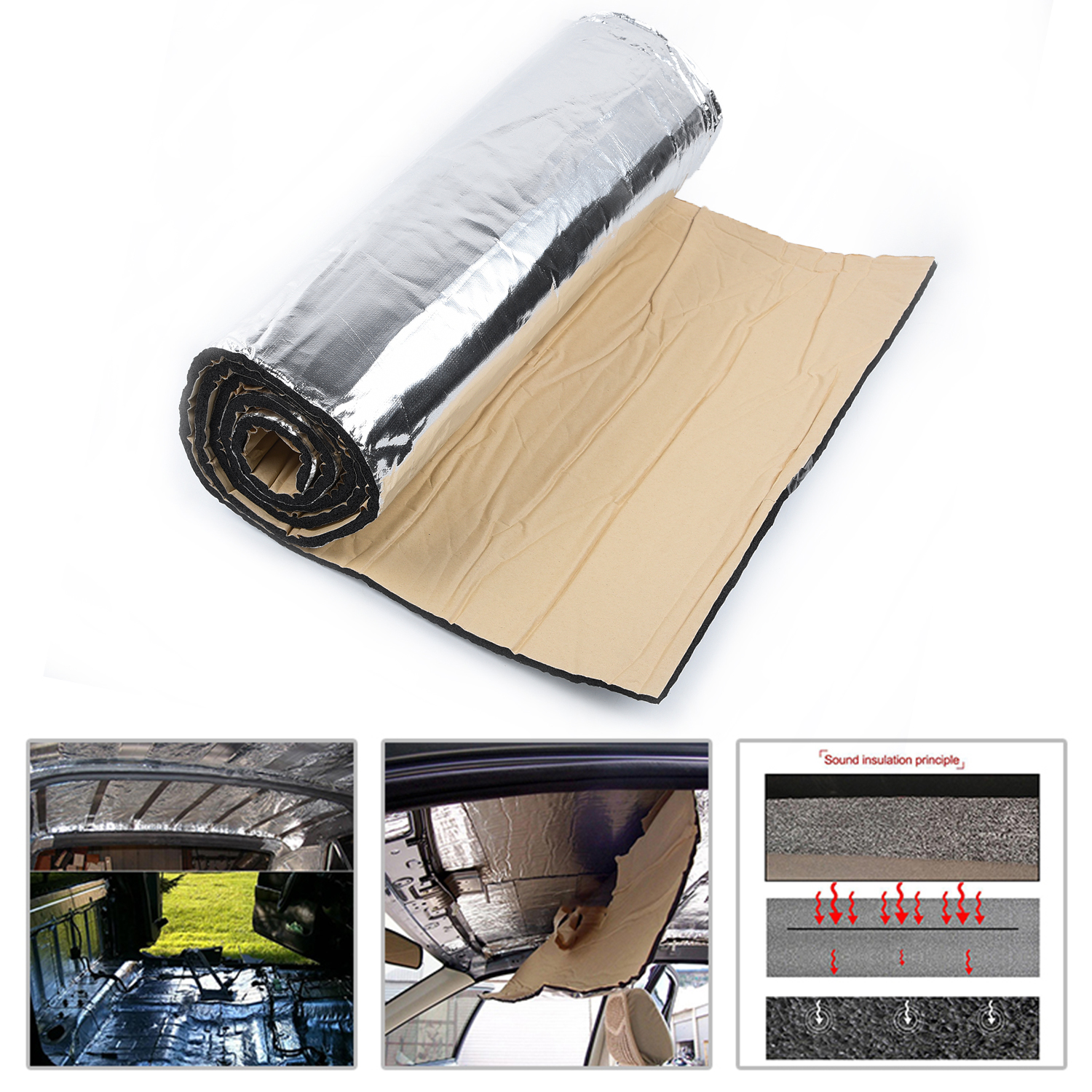50*200cm Car Truck Firewall Heat Sound Deadener Insulation Mat Noise Insulation Wool Sound Thermal Proofing Pad Car Styling 10mm