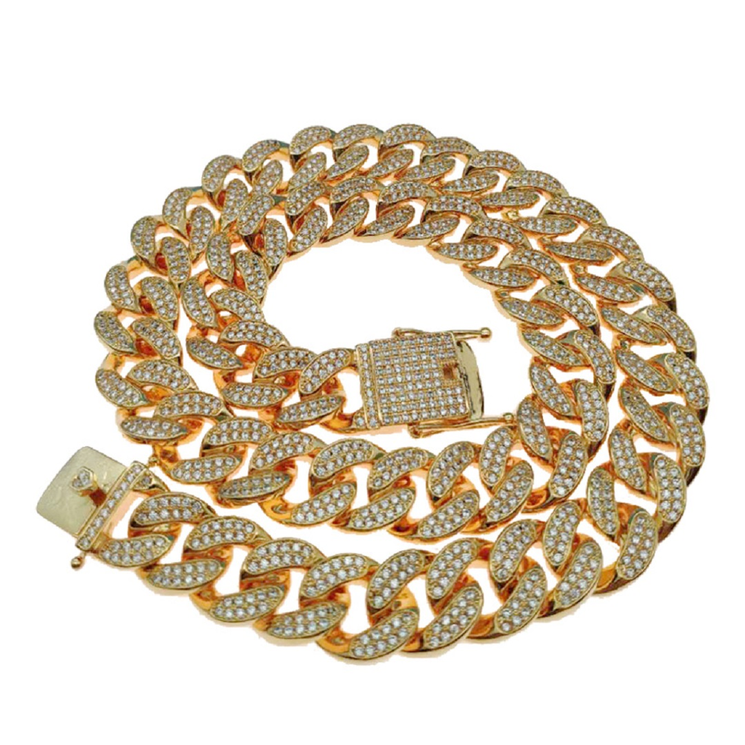 USENSET Hip Hop Bling Chains Jewelry Men Iced Out Chains Necklace Gold Color Miami Cuban Link ChainsUSENSET Hip Hop Bling Chains Jewelry Men Iced Out Chains Necklace Gold Color Miami Cuban Link Chains