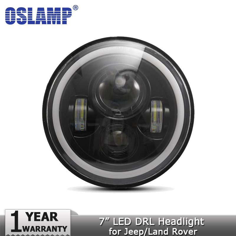 Oslamp 7inch Headlights Amber White Halo Angle Eyes LED Headlight Bulbs DRL Led Headlamp 12v for Jeep Wrangler JK for Land Rover