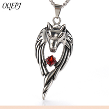 OQEPJ Trendy Wolf Head Red Cubic Zirconia Necklace Pendant Stainless Steel High Polished Men necklaces Exquisite Animal Jewelry цена