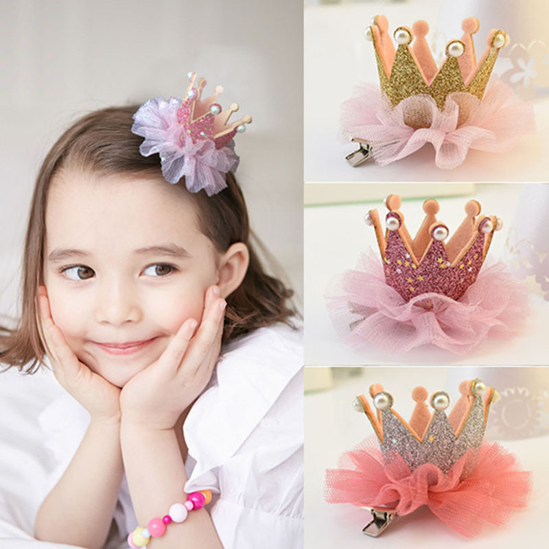 Girl Kids Baby ballerina Princess Pink Lace Tiara Hair Elastic Headband Crown