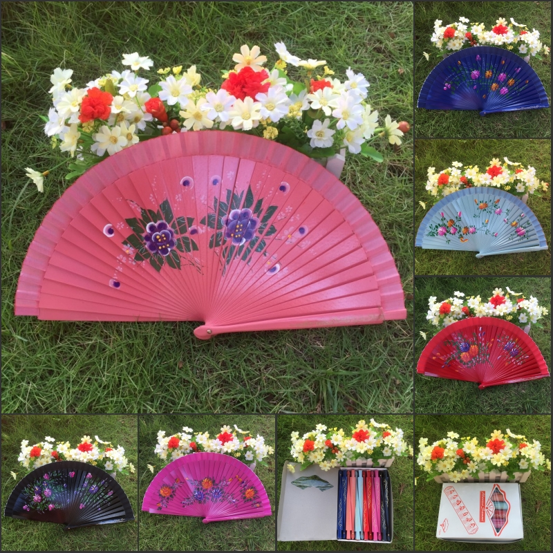 24pcs/lot Hand-painted Spanish Style Craft Wood Fan With Mixed Flower Designs And Background Colors For Decoration