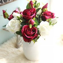 1PC French Romantic Artificial Rose Flower DIY Velvet Silk for Party Home Wedding Holiday Decoration