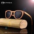 KITHDIA Novo 2017 Womens 100% Zebra Óculos De Sol De Madeira de Bambu Natural Com Revestimento Espelhado Lentes de Proteção UV 400 em Caixa De Madeira