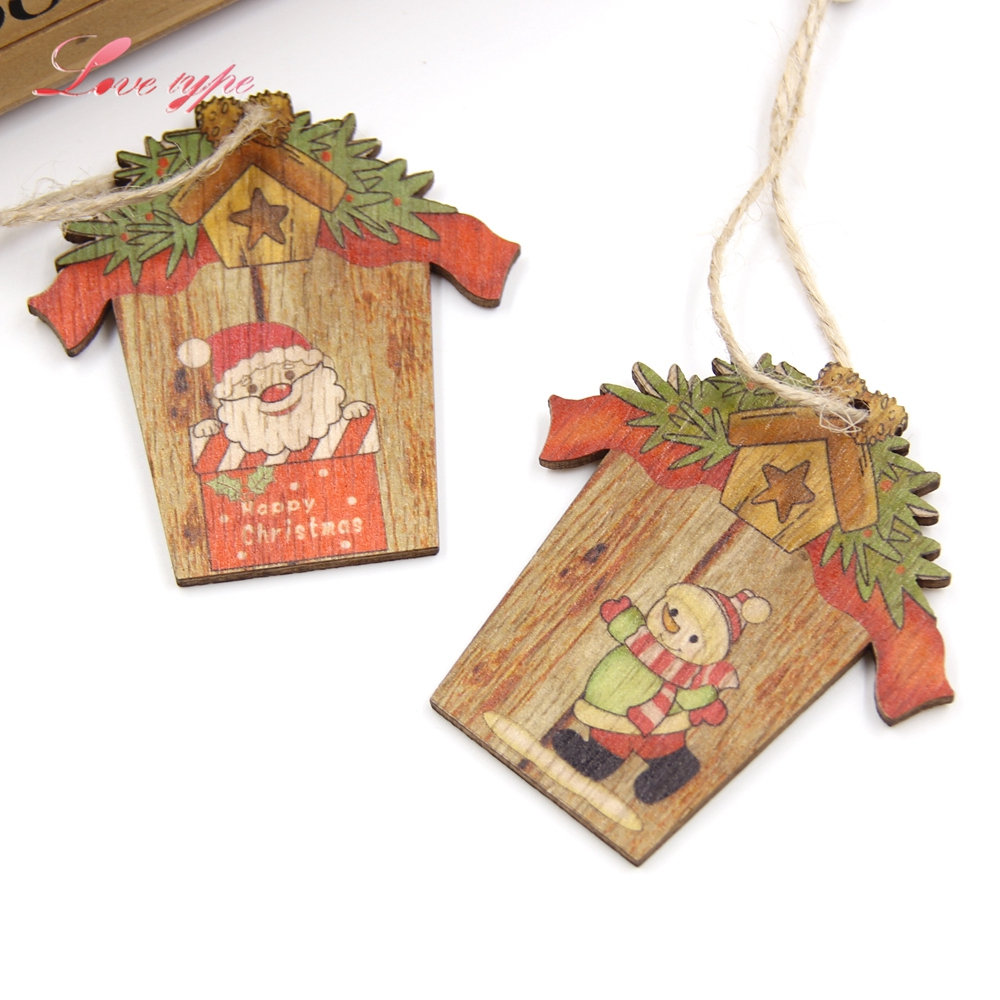 9pcs mini house christmas wooden pendants xmas tree for Miniature christmas trees for crafts