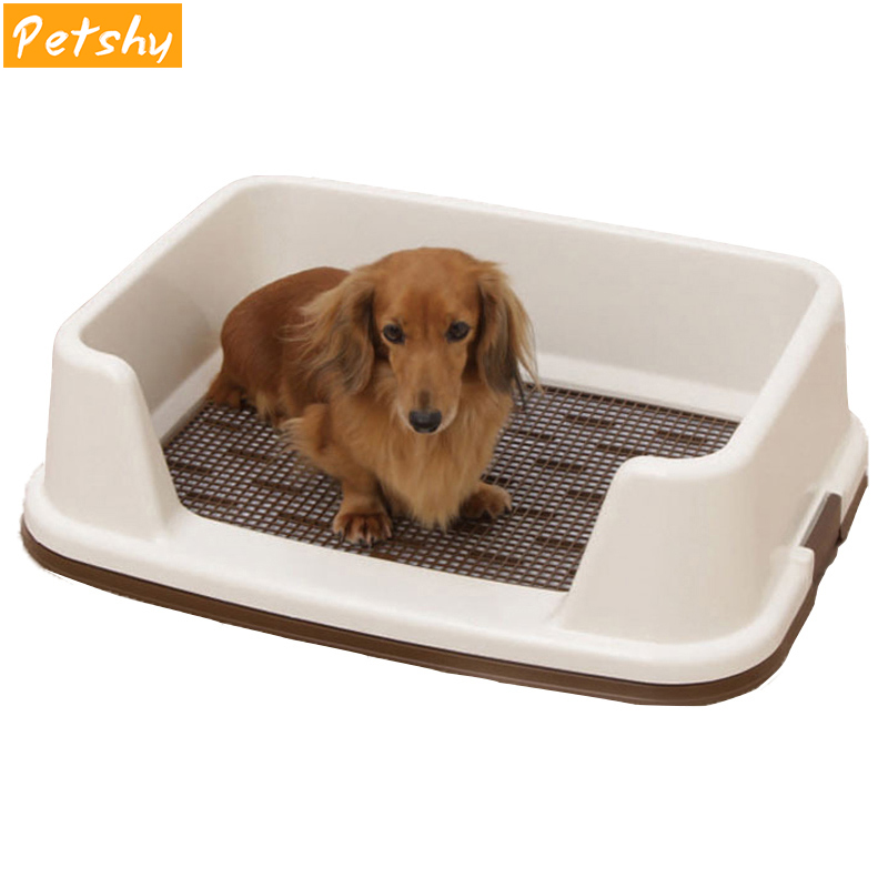 Petshy 애완 동물 강아지 화장실 반 폐쇄 플라스틱 중간 대형 개 화장실 트레이 실내 회사 강아지 고양이 오줌 훈련 쓰레기 상자 bedpan-에서쓰레기통부터 홈 & 가든 의  그룹 1