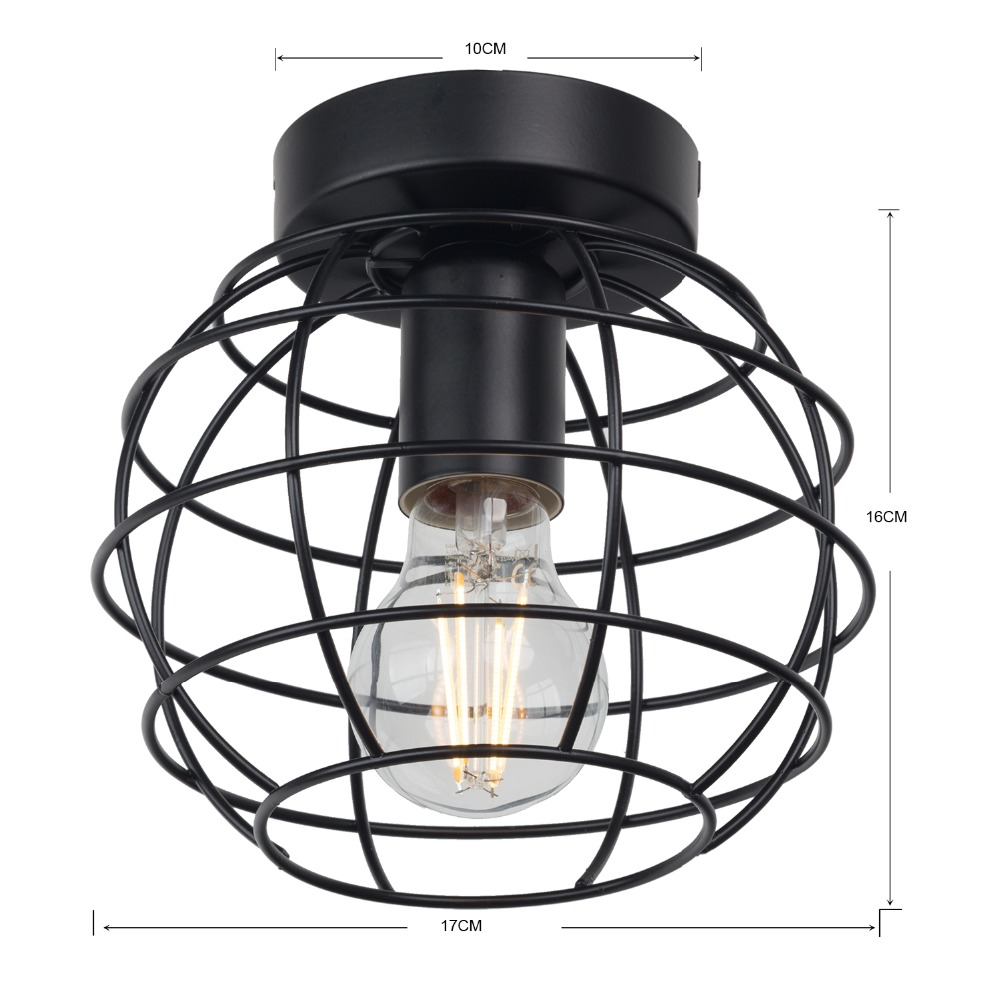 HTB1y3nJV4jaK1RjSZFAq6zdLFXaE Zhaoke Vintage Iron Black Ceiling Light LED  Industrial Modern Ceiling Lamp Nordic Lighting Cage Fixture Home Living Room Decor