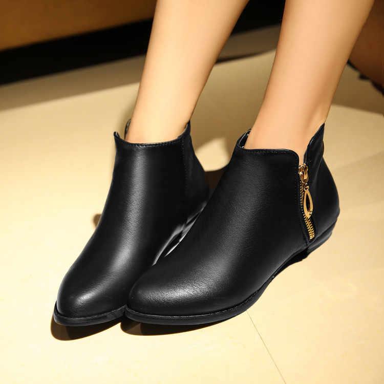 ¡Nuevo! botas con hebilla de punta redonda de talla grande 34-45 para mujer, botines sexis a la moda abrigados para invierno, primavera y otoño, zapatos informales C104