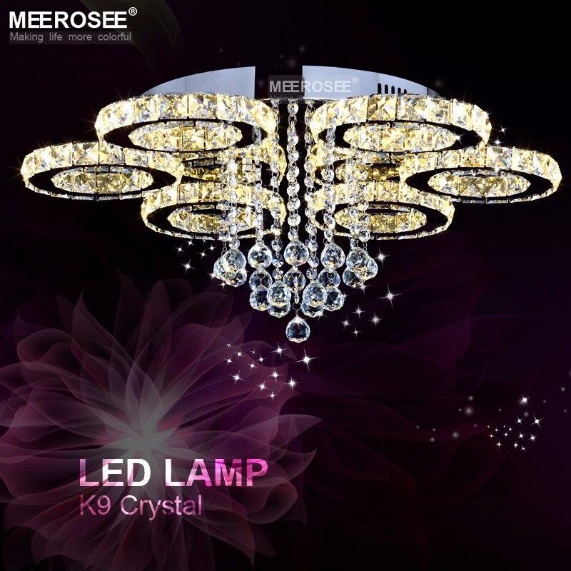 2019 nouveau design cristal plafonnier diamant LED lampe en cristal pour salle à manger salon anneau cercle Lustres