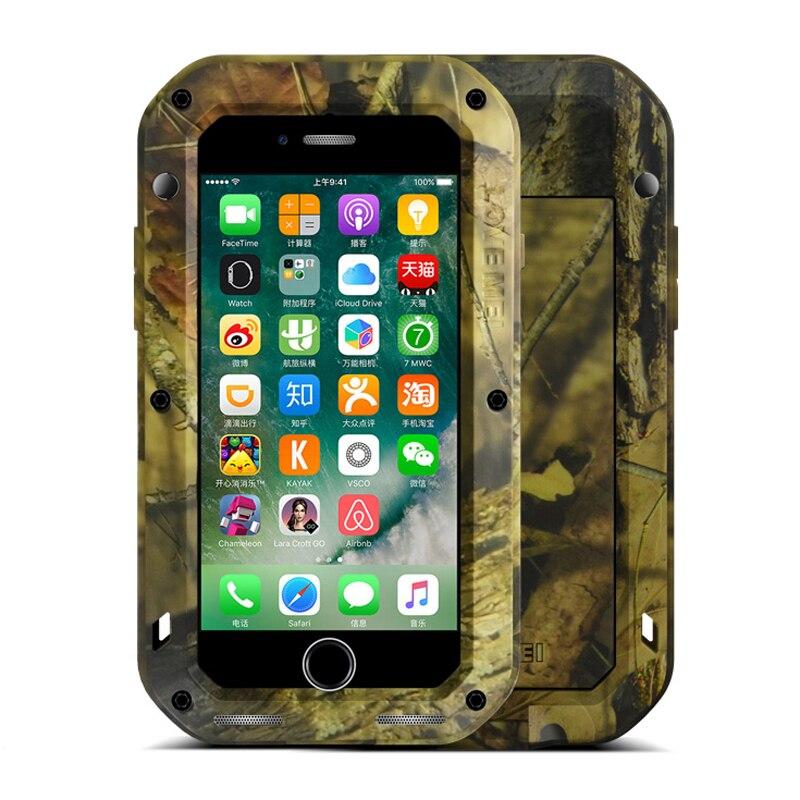 imágenes para Para Apple iPhone 7 Caja de Aluminio y Cristal Gorilla Resistente Al Agua A Prueba de Golpes de Metal camuflaje camo Army Armor Para el iphone 7 Más caso