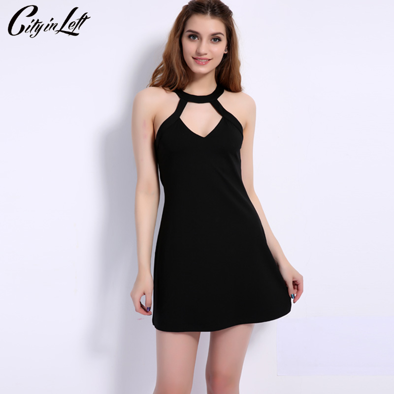 City 2018 Summer Style Women Sexy Dress Halter Strapless Off Shoulder Touch Back Hollow Out Mini Club Evening Party Dress 1131