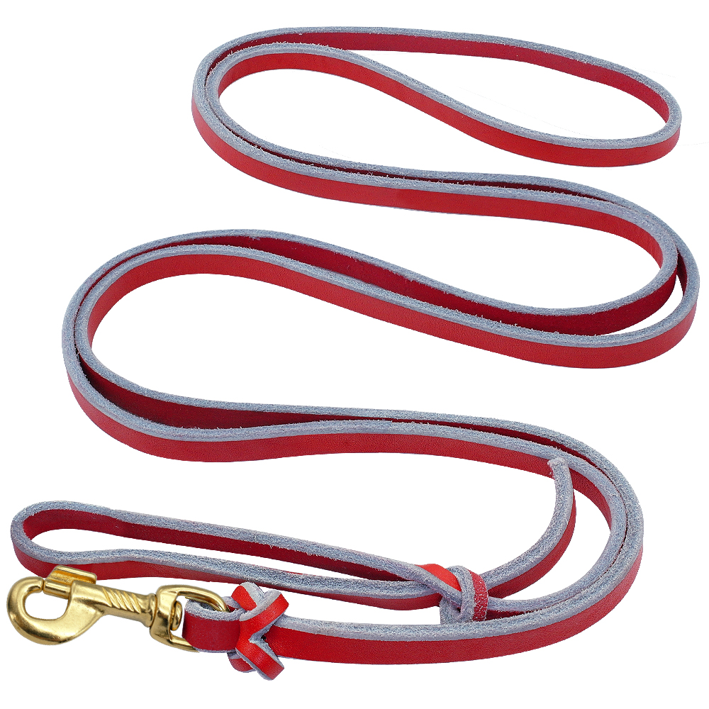 Leash Dog German Shepherd Genuine Leather Dog Training Leashes Rope for Large Dogs Red Pet Leads