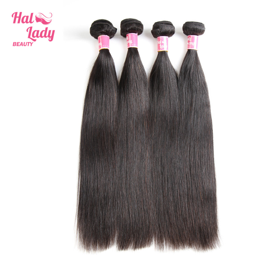 Halo Lady Beauty Hair Weaves 16 18 20 inch Peruvian Straight Human Hair Extensions 4 Bundles