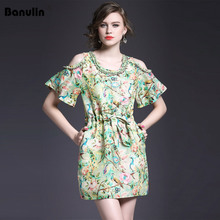 Banulin 2019 Fashion Designer Runway Dress Summer Women Off shoulder Crystal Diamond Beaded Elegant Floral Short