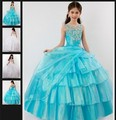 Princess Ball Gown Party dresses Girl's Pageant Dresses Long Party Wedding Dresses for Girl Tulle Beading Flower Girl Dresses