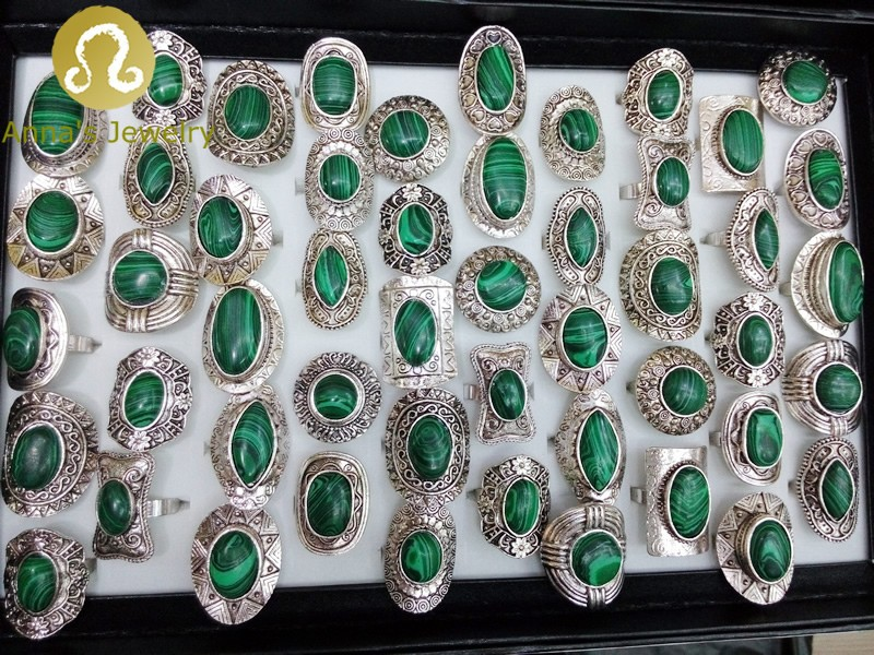 Factory Directly Sales Shop Wholesales Size Shape Mix Natural Stone Tibetan Sliver rings Men Jewelry 50pcs/box New!