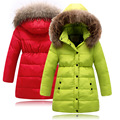 Long Girls Down Coats Russian Winter Thick Warm Children Coats With Fur Hooded Baby Girls Jackets Kids Outwear For Winter SYHB