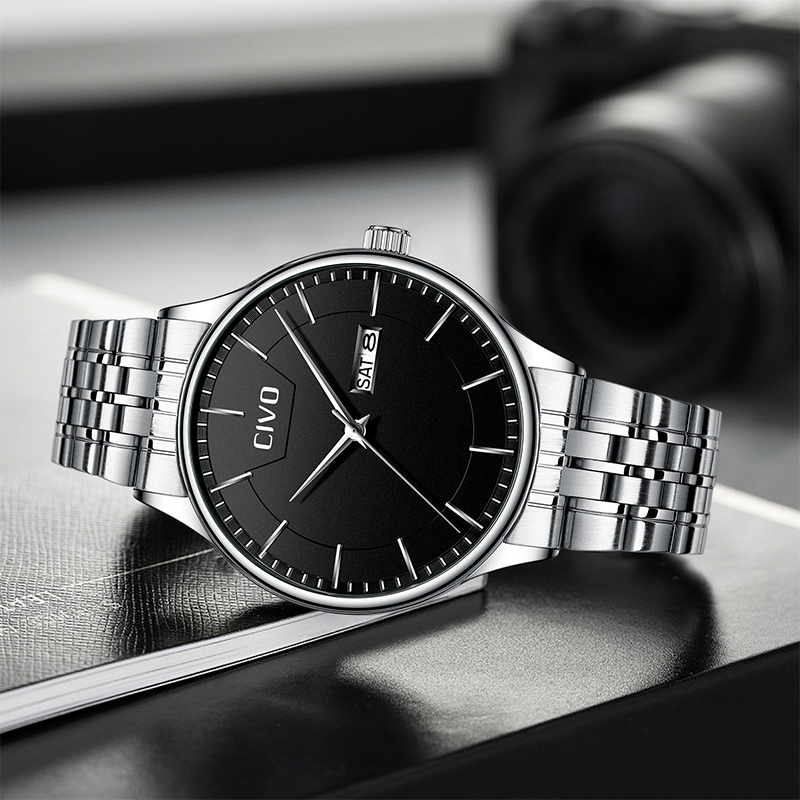 CIVO Simple Men Watches Stainless Steel Strap Quartz Watch Top Brand Casual Waterproof Date Watch Male Clock Relogio MasculinoCIVO Simple Men Watches Stainless Steel Strap Quartz Watch Top Brand Casual Waterproof Date Watch Male Clock Relogio Masculino