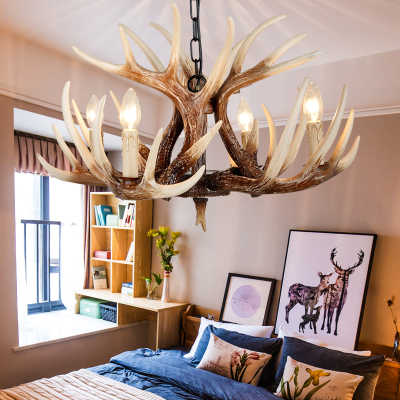 American Resin Candle Antler Chandelier Europe Deer Horn Chandeliers Lighting Fixtures,Vintage kitchen chandeliers for bedrooms