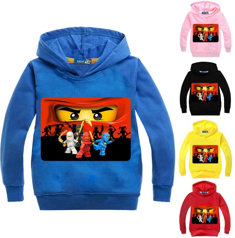 2017 Primavera Outono 3-16Years Legoes Meninos Jumpers Moletons Crianças Hoodies Para Baixo Casaco Jaqueta Com Capuz Crianças Dos Desenhos Animados Crianças N07618