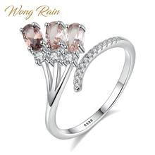 Wong Hujan 100% 925 Sterling Silver Smoky Quartz Gradien Gemstone Pernikahan Berlian Pembukaan Adjustable Cincin Perhiasan Grosir(China)