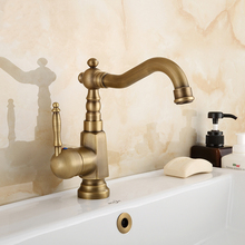 Antique Brass Single Handle Basin Faucet Deck Mount Bathroom Faucet Vanity Vessel Sinks Mixer Tap KD545 black oil rubbed bronze bamboo style bathroom basin faucet single handle single hole deck mounted vessel sink mixer tap wnf024